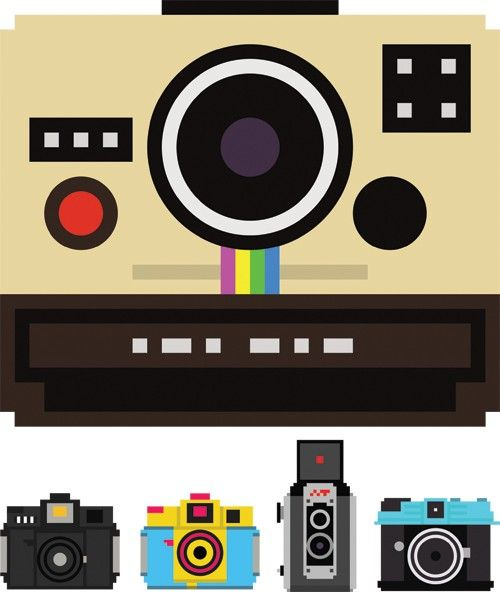 "The Camera Collection  Whether you are looking for a regular point and shoot, dslr, a Polaroid, or a storage card, Billy Brown has kindly shared ""100 pixelated camera illustrations for anybody to download and use in whatever way they see fit."" (The illustrations are marked as Creative Commons 3.0 and are available to download as .eps, .ai, or .png files)"