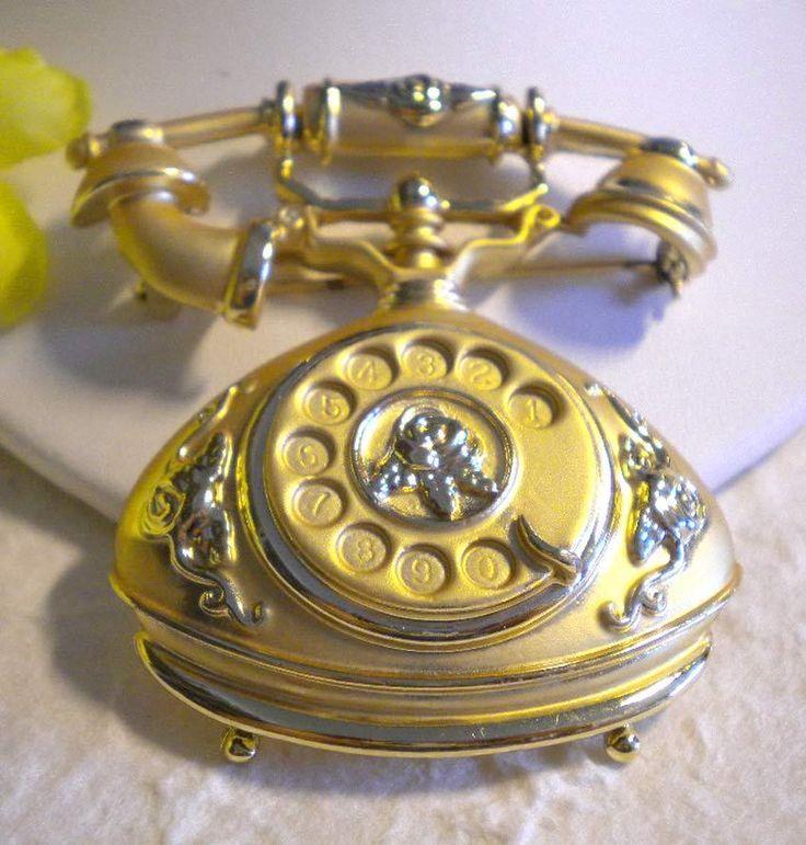 SPILLA TELEFONO STILE ANNI '30 DORATURA SATINATA & LUCIDA-'30th phone pin brooch