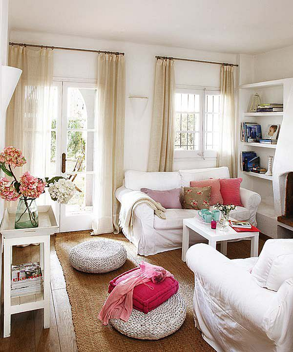 Feminine, casual living room