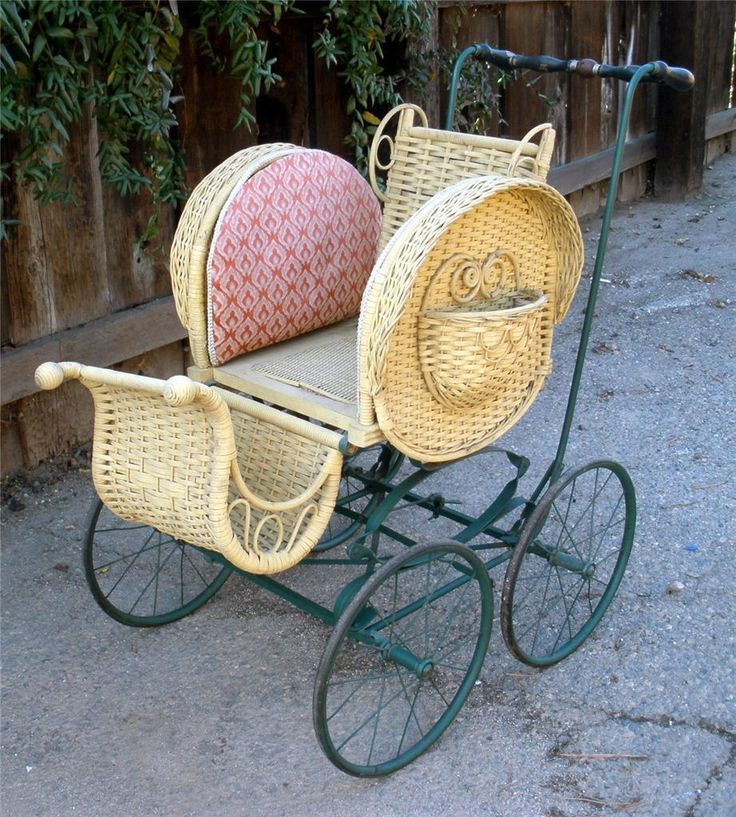 Antique Kelly Brothers Victorian Wicker Baby Stroller Doll Buggy Carriage Cart | eBay