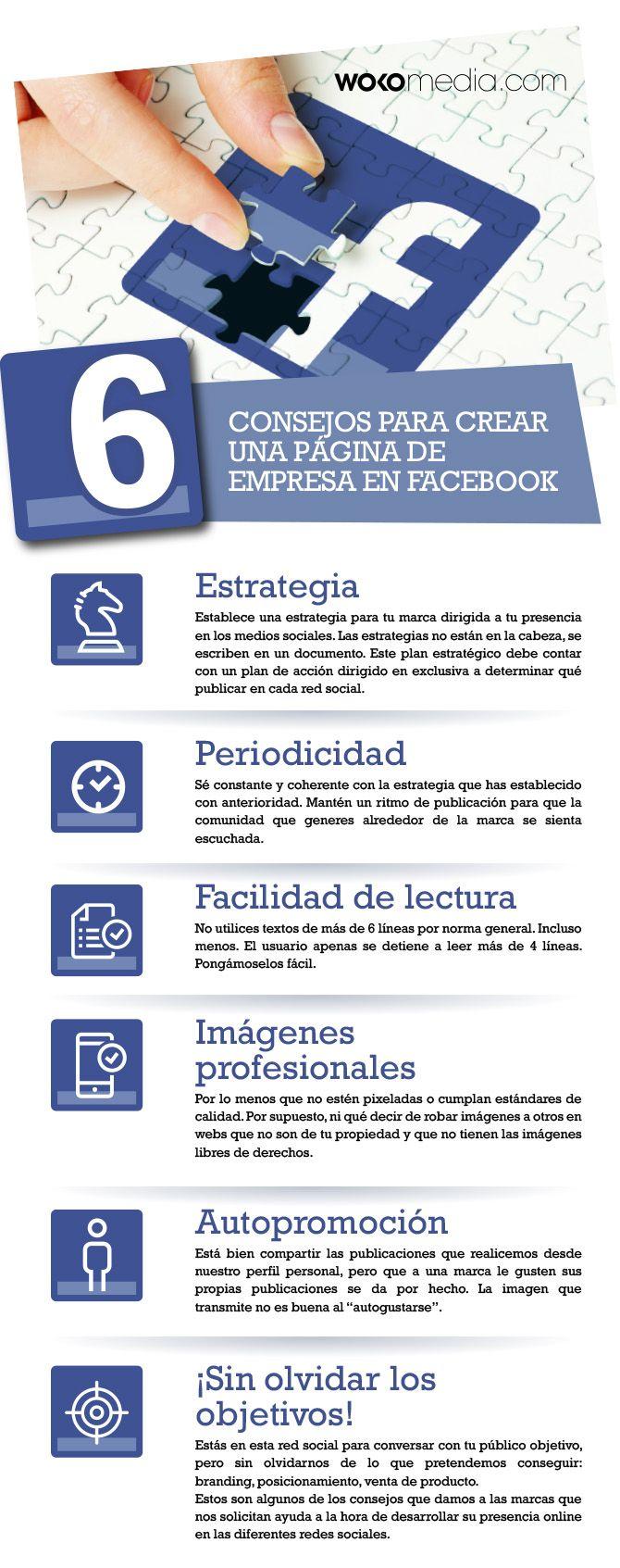 6 consejos para crear una página de Facebook de empresa. Infografía en español #CommunityManager