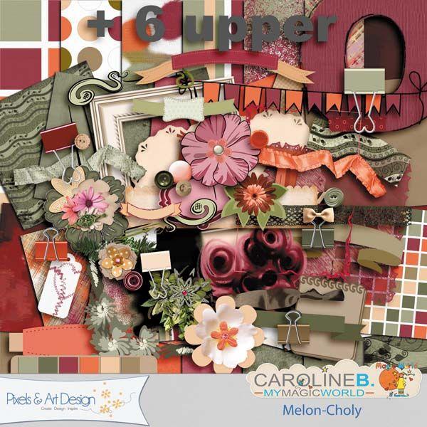 #PixelsAndArtDesign - Melon-CholyA fresh, versatile, summer, color scheme for this fanciful full kit, including :    - 14 patterned and plain papers,  - 90 elements (paper-clips, overlay, banners, borders, bows, buttons, flowers, frames, labels, laces, masks, mates, paintchip, pennants, ribbons, tags, washi tapes...)  - 6 alpha of 26 upper characters.    A mini price for a full kit !!      Une palette, fraîche, versatile, estivale pour ce kit plein de fantaisie, qui contient..