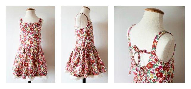 Patrón pdf para vestido niña verano en tela Liberty
