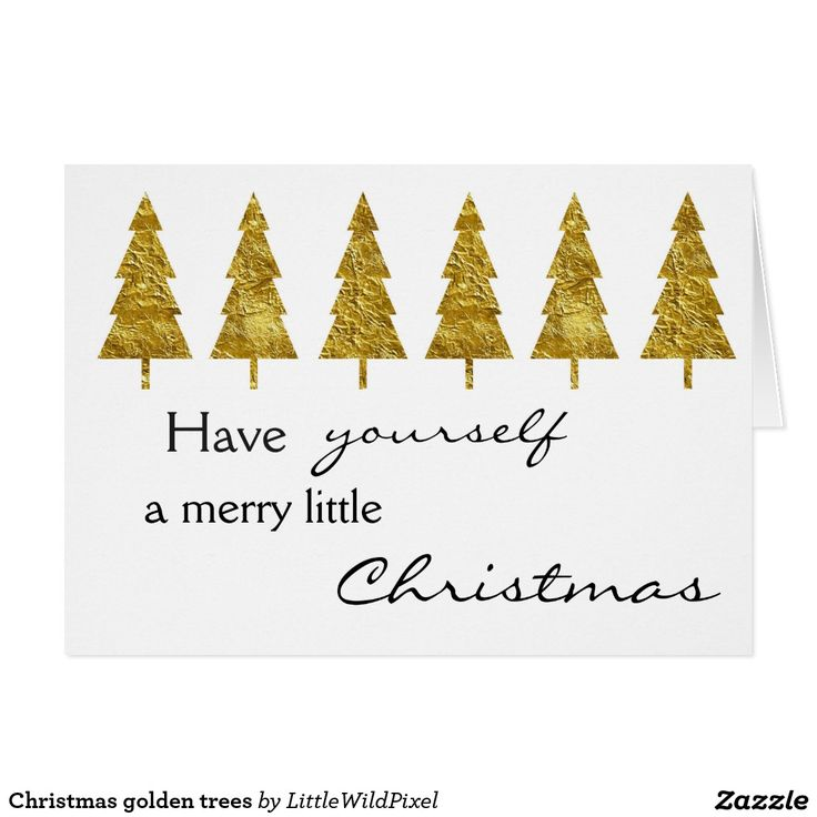 Christmas golden trees greeting card