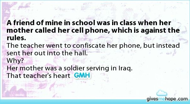 A friend of mine in school was in class when her mother called her cell phone, which is against the rules.
