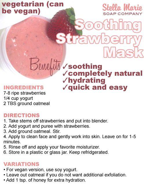 Refreshing DIY strawberry and yogurt facial.