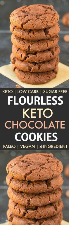 4-Ingredient Flourless Keto Chocolate Cookies (Paleo, Vegan, Low Carb, Sugar Free, Gluten Free)-An easy recipe for soft and chewy cookies using just 4 ingredients! Easy, healthy, delicious low carb high protein cookies which take less than 12 minutes to w
