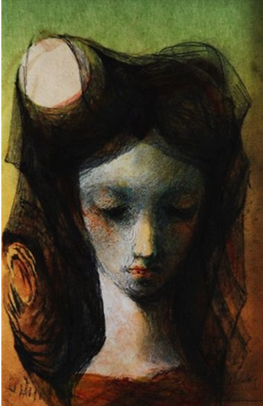 By Ludmila Jirincova-Novakova (Czech, 1912–1994), 1988, Moon, pen, pencil, watercolor and mixed media. iL