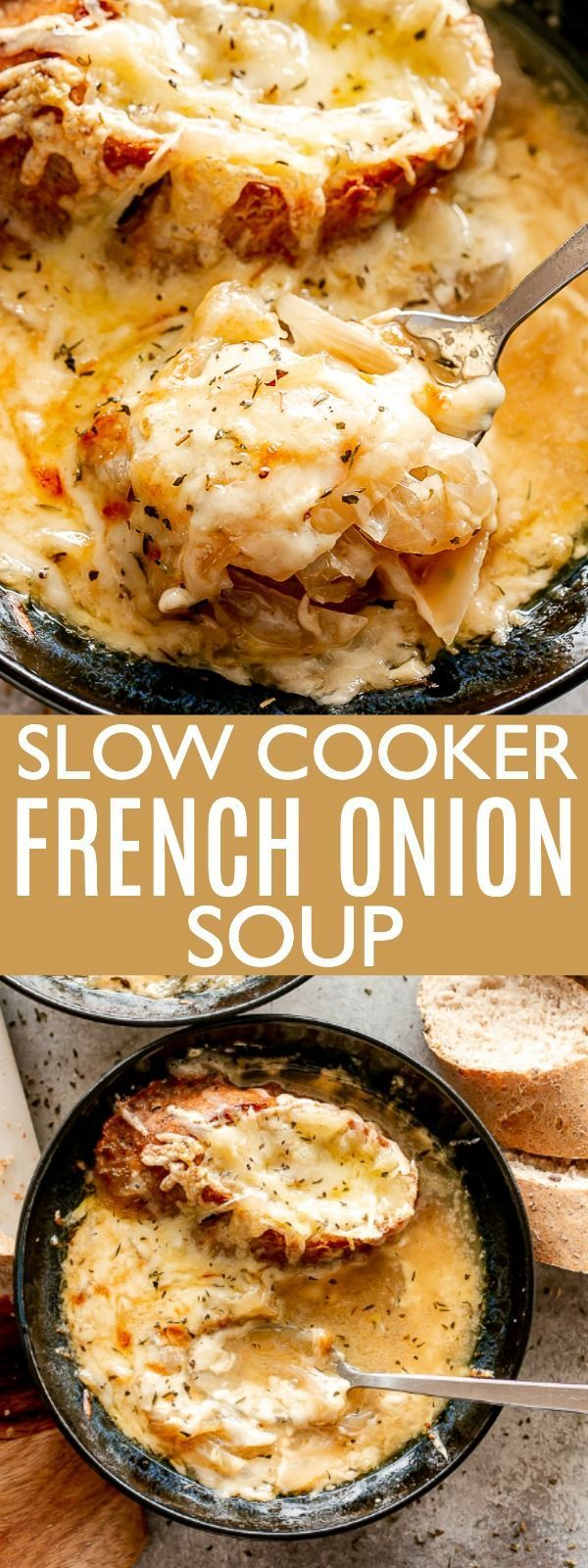 Apr 5, 2020 – Slow Cooker French Onion Soup – A classic French Onion Soup prepared in the crockpot and loaded with incre…