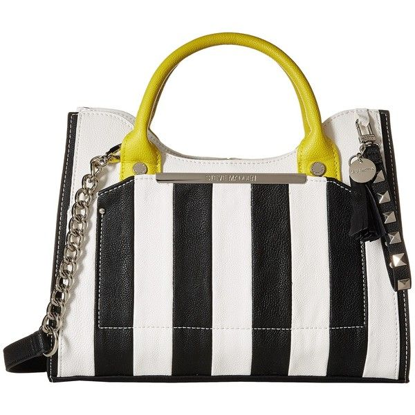 Steve Madden Brosey Satchel (Black/White Stripe/Chartreusee) Satchel... found on Polyvore featuring bags, handbags, white, chain handle handbags, satchel purse, vegan purses, black white handbags and chain strap purse