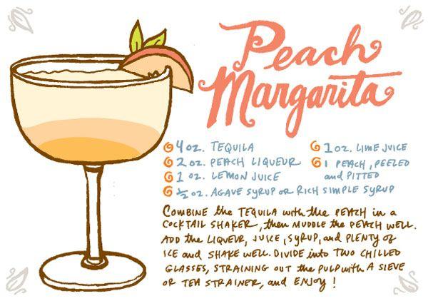 Recipe Card: Peach Margarita, Illustration by Caitlin Keegan for Oh So Beautiful Paper