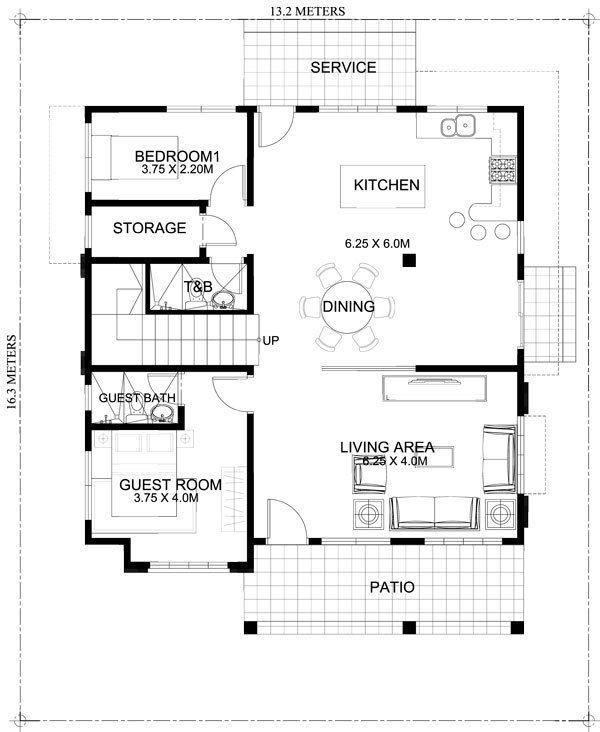 Mhd 2015021 Ground Floor Plan Jpg 600 732 Two Storey House Plans Two Storey House Home Design Plans