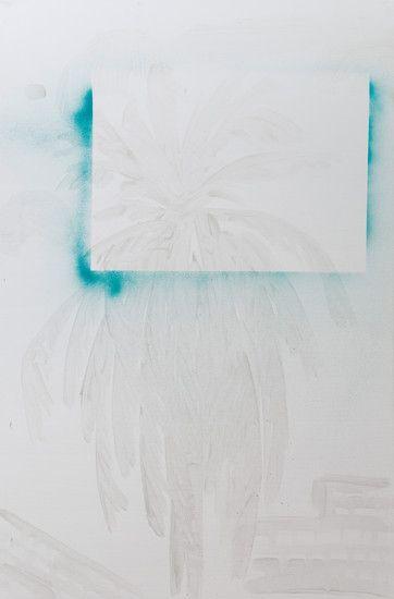 acrylic medium and spray paint on pre-made canvas stretcher
