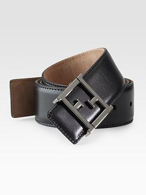 Fendi  Leather Square Buckle Belt