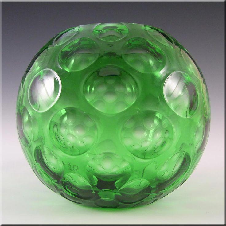 Borske Sklo 1950's Green Glass Optical 'Olives' Vase - £29.99