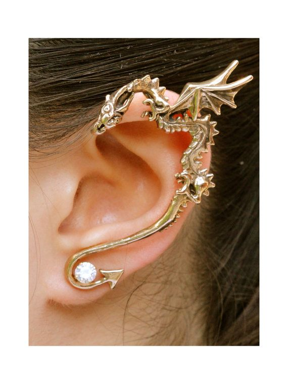 Dragon Ear Wrap Dragon Ear Cuff Bronze - Classic Dragon Ear Wrap - Dragon Jewelry Game of Thrones Inspired - Dragon Earring - Non Pierced