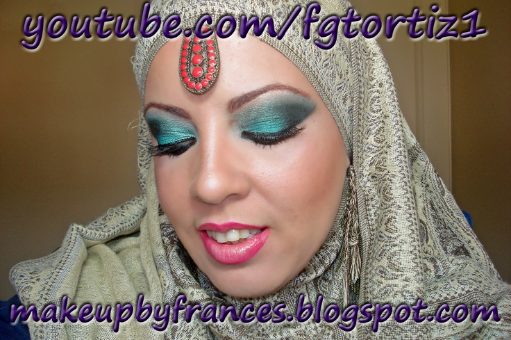 Tutorial de Maquillaje Verde Azulado (Teal) Inspirado en Arabe / Hindú / Teal Arabic / Indian Inspired Makeup Tutorial   Makeup By Frances / Maquillaje Por Frances
