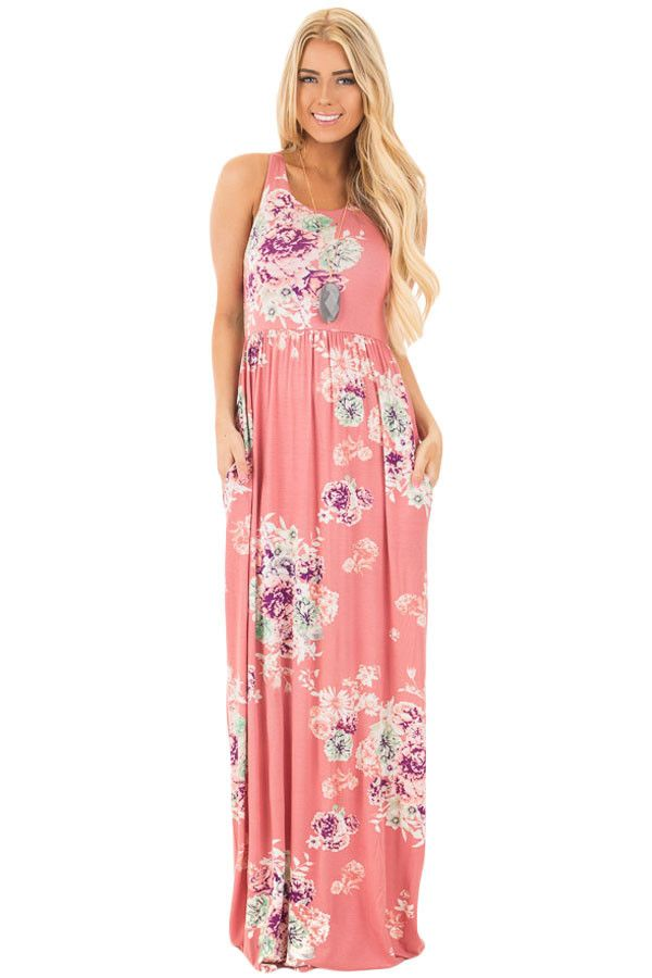 Chicloth Dusty Pink Floral Print Sleeveless Long Boho Dress