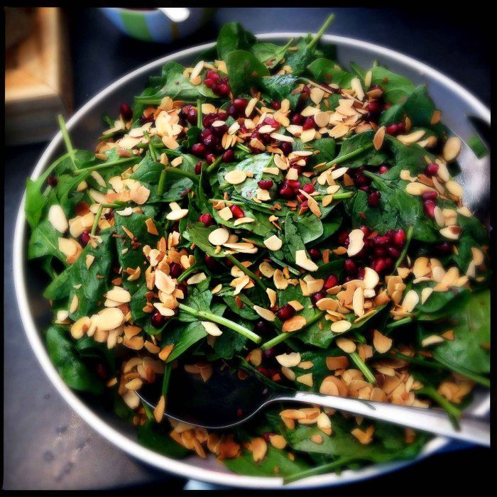 Spinach and pomegranate salad - Rebecca Seal