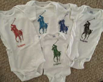 112 best designer theme polo images on pinterest boy baby custom personalized polo horse bodysuit onesie you choose color name and size perfect negle Choice Image