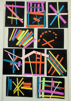 Kindergarten Paper Line Collage: exploring line and pattern
