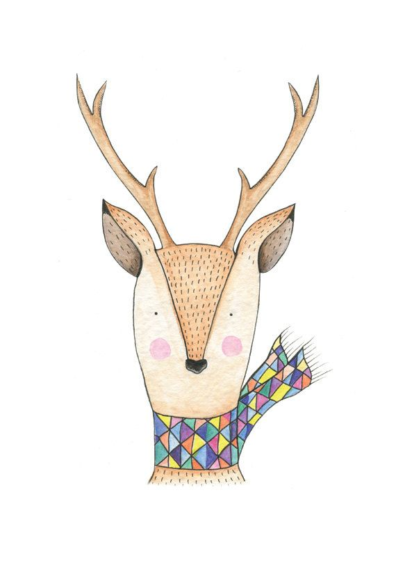 Oh deer Art Print. Illustration of a colourful deer. by HelloPants, $25.00