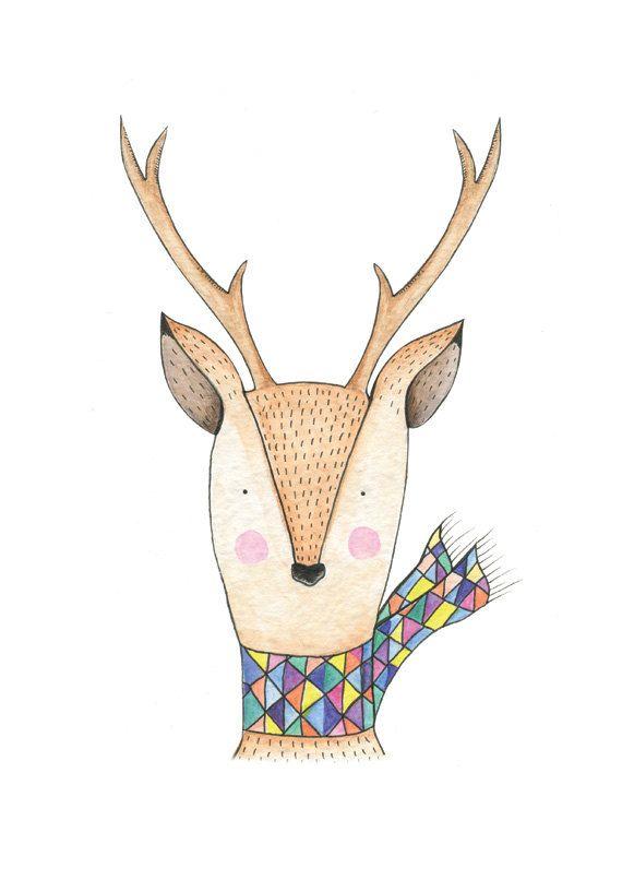 Oh deer Art Print. Illustration d'un chevreuil coloré. Géométrique. Aquarelle.