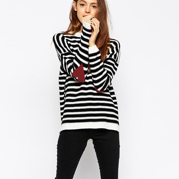 Women-Sweaters-Slit-Sweep-Black-and-White-Striped-