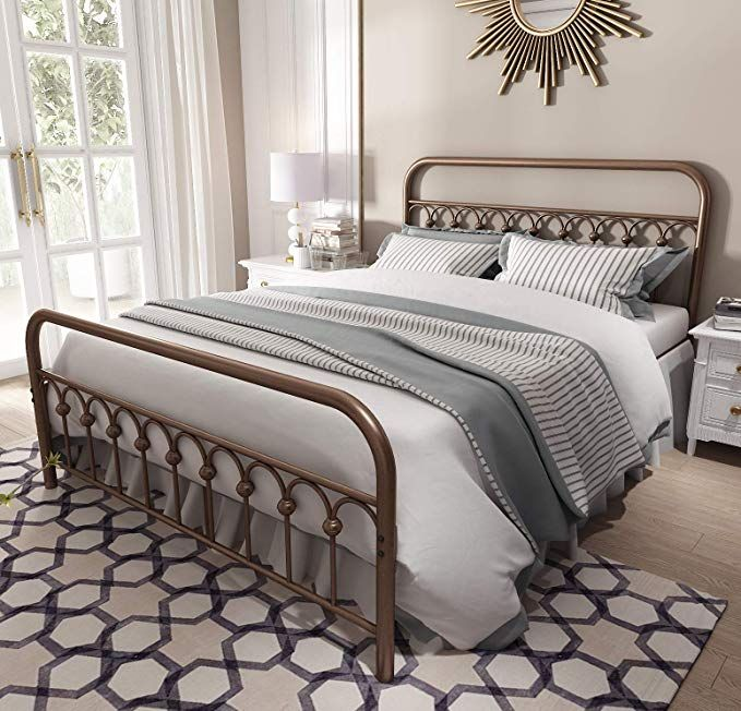 Amazon Com Vintage Sturdy Queen Size Metal Bed Frame With
