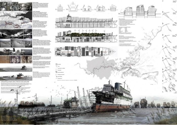 Presentation board for architectural design by Anthony Lau