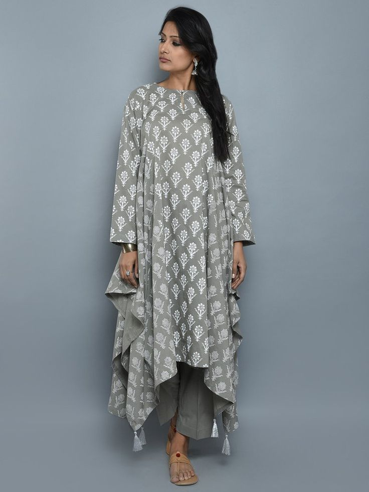 Grey Cotton Block Printed Asymmetrical Kurta and Pants - Set of 2