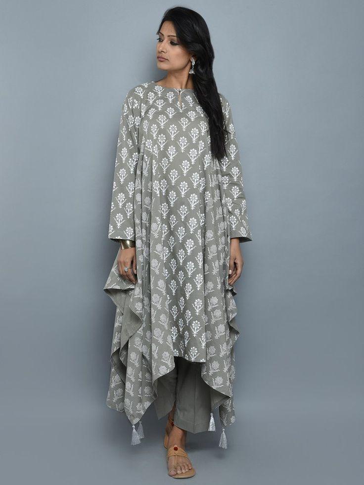 Grey Block Printed Cotton Asymmetric Kurta