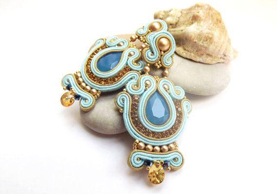 Orecchini soutache con Swarovski Orecchini Soutache gioielli turchese blu oro beige orecchini lampadario orecchini lunghi
