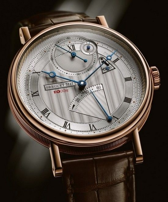 Breguet Classique Chronométrie 7727 Watch    1) Geneva waves - central dial  2) clou de Paris hobnailing - small seconds  3) sunburst - 1/10 sub dial  4) chevron - power reserve  5) edging - chapter ring for hours  6) barleycorn - outside edge of dial