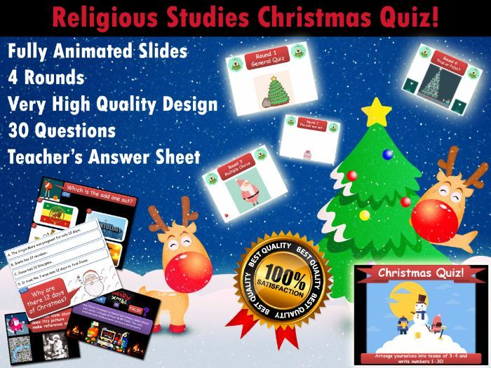 This professional quality download includes a 30 Question Christmas Quiz for RE/RS Teachers.<br /> <br /> -Every slide features fun and engaging animations<br /> -The quiz has 4 rounds: general quiz, odd one out, multiple choice, true/false<br /> -It is s...