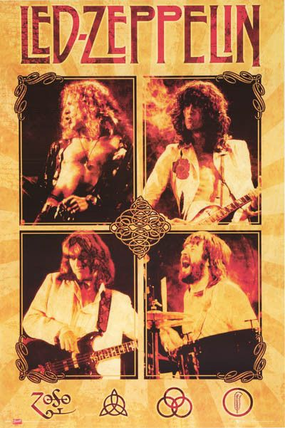 An awesome Led Zeppelin poster with live pics of Robert Plant, Jimmy Page, John Paul Jones, and John Bonham! Fully licensed - 2008. Ships fast. 24x36 inches. Ramble On over and check out the rest of o