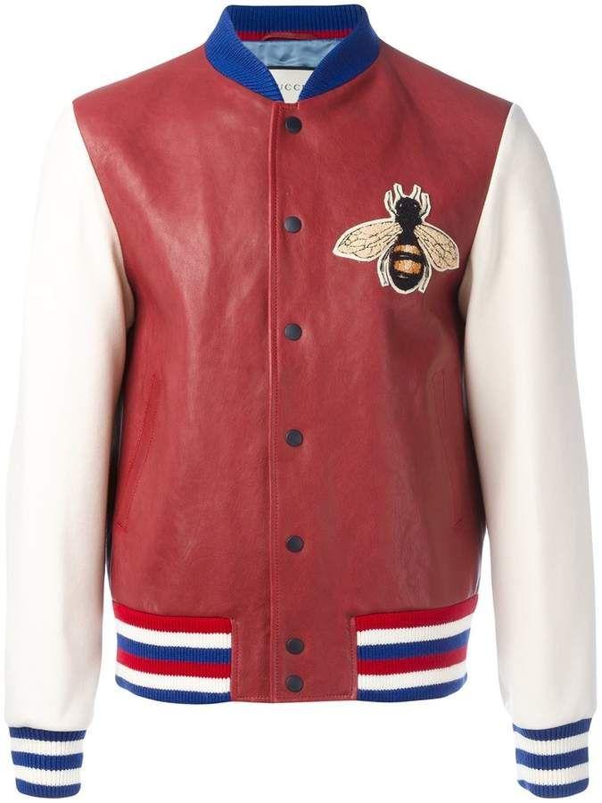 Gucci Embroidered Bomber Jacket Bomber Jacket Blouson Rouge Veste En Cuir Pour Homme