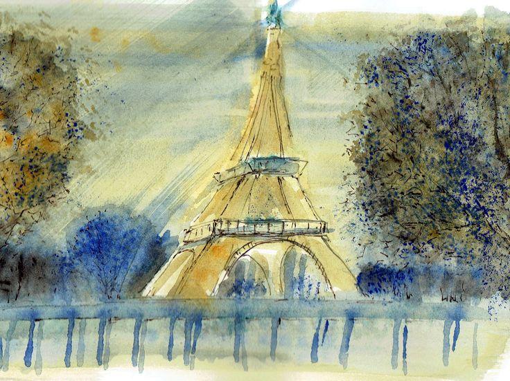 I love Parigi, acquerello e china