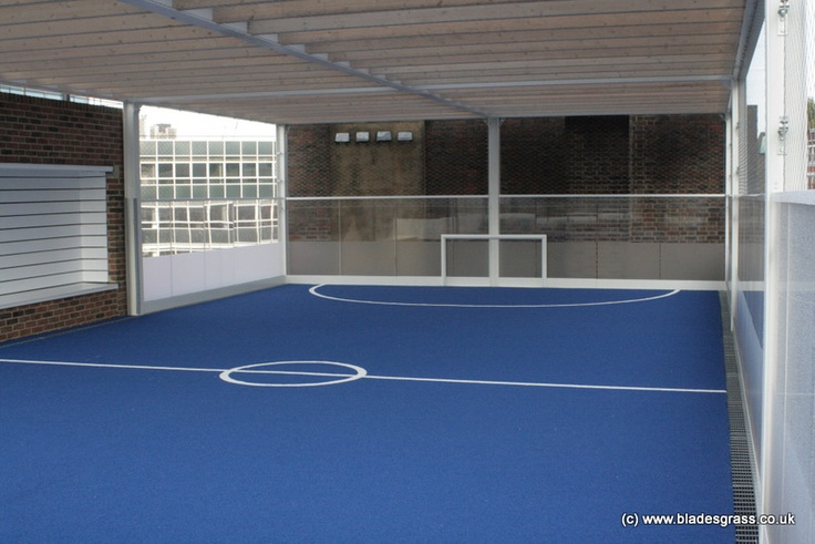 An artificial grass pitch. A roof top sports area at central London school.