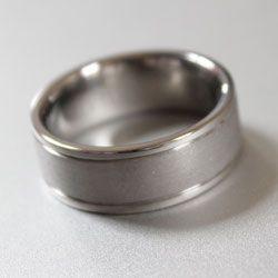 Titanium ring with sandblast centre