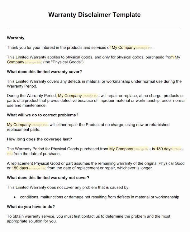 Company Equipment Use And Return Policy Agreement Best Of Warranty Disclaimer Sample Template Disclaimkit Lettering Tag Letters Warranty No return policy template