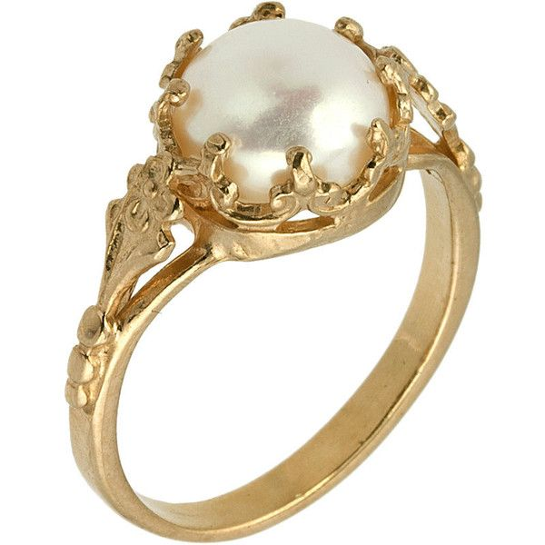 Victorian Freshwater Cultured Pearl Diamond Engagement Ring in 14k... ($260) ❤ liked on Polyvore