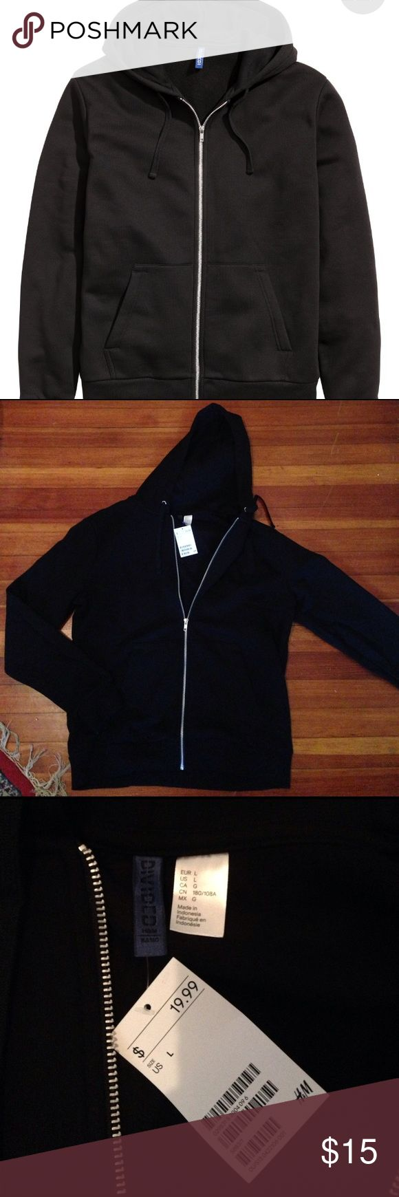 NWT H&M men's zip up hoodie L NWT mens zip up hoodie from h&m. Newly released and never worn! H&M Sweaters