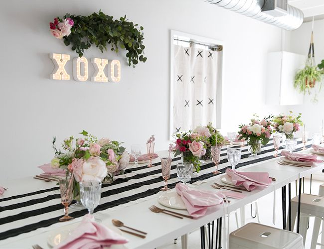 XOXO pink, black, and white baby shower  Event styling by GATHER Events Photo by Kylie Chevalier