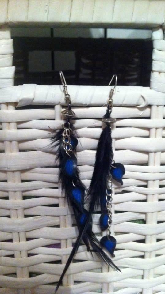 Boucles d'oreilles Zannéo Esprit rock Bleu et noir