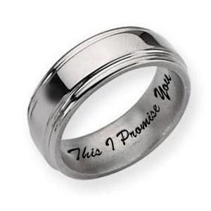 Titanium Grooved Edge 8mm Polished Mens Promise Ring - PG79681
