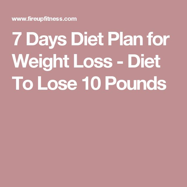 7 Days Diet Plan for Weight Loss - Diet To Lose 10 Pounds