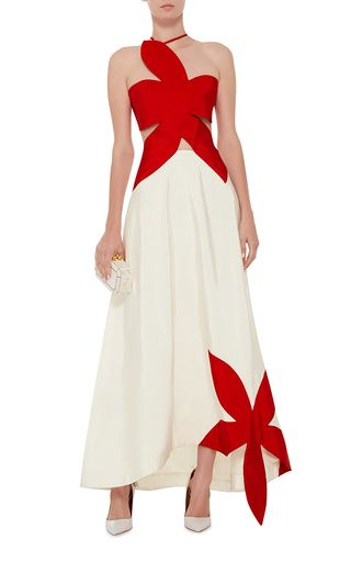 Silk Flower Stamp Bicolor Gown by ROSIE ASSOULIN Now Available on Moda Operandi