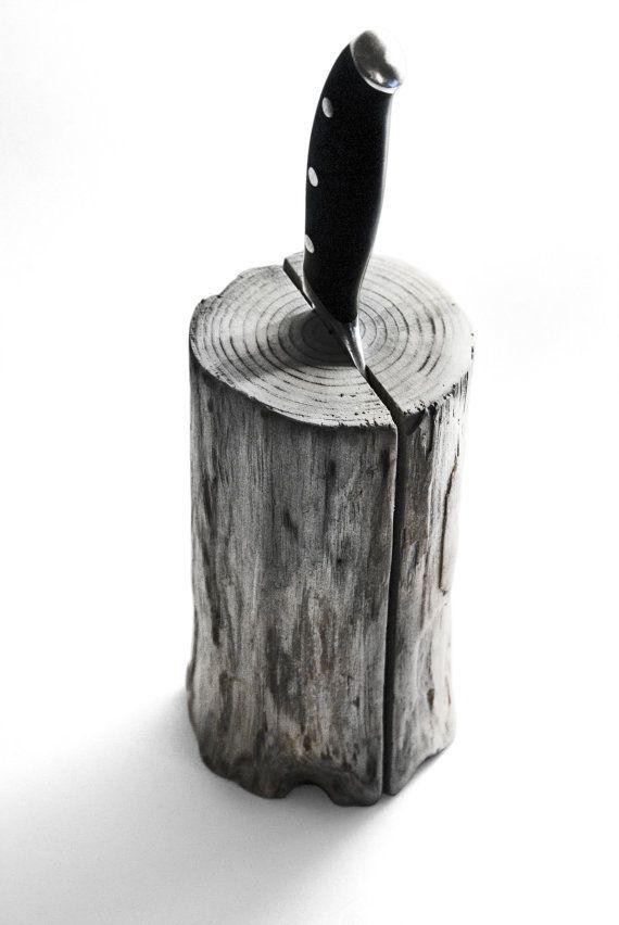 Driftwood knife Block. Kitchen centerpiece. Scandinavian by Railis
