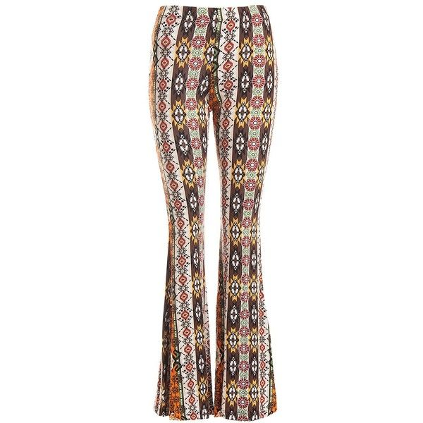 Sans Souci Aztec print bell bottom pants ($29) ❤ liked on Polyvore featuring pants, multi, lightweight pants, elastic waistband pants, fitted pants, light weight pants and aztec pants